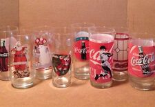 Lot Of 8 Assorted Coca Cola Glasses Santa, Baseball, Polar Bear