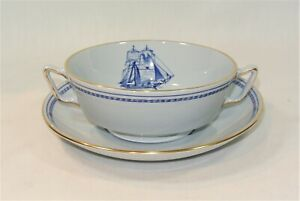 """Spode TRADE WINDS BLUE Cream Soup Bowl and Underplate Saucer """"A"""""""