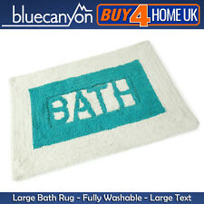 Blue Canyon 'Bath Text' Luxury Large Washable Soft Mat Rug - 85cm x 55cm - 3624
