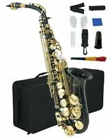 Alto Saxophone Brass Body Button w/ Carry Case Reed Mouthpiece Throat Black
