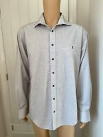 Yves Saint Laurent White Pattern Print Mens Shirt Extra Large XL Long Sleeve 27""