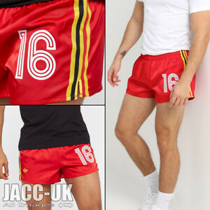 NEW S Mens Rare Adidas Shiny Satin Vintage Style Red Yell Belgium Shorts Run.947