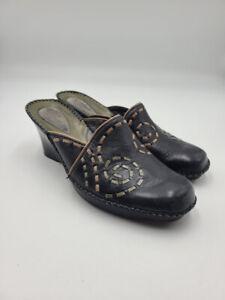Clarks Women's Sz 8M Leather Artisan Wedge Slide Black Shoes