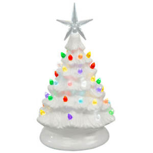 """9"""" Tall Battery-Operated Vintage-Style White Ceramic Tree Christmas Decoration"""