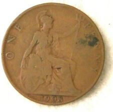Large English Penny Great Britain Uk 1903 Copper Coin England King Edward Vii