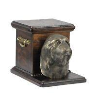 Collie barbudo - urna de madera con una figura de perro, Art Dog ES