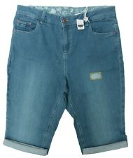 Womens Plus Size New Pear Fit Stretch Denim Blue Knee Length Shorts Ladies