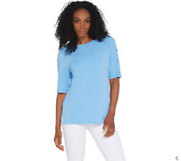 Martha Stewart Knit Boatneck Elbow-Sleeve Top with Button Detail Robin Blue XS