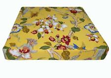 ai04t Lily Red Blue Green Pink Off White on Yellow Cotton 3D Box Seat Cover