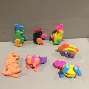 Vintage Erasers Rubbers - Kangaroo Joey Moveable Eraser 80s 90s Animals Bunny
