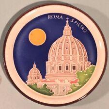 Vintage Majolica Tile Plate Roma S Pietro Leoni Luciano italy Italian St Peter's