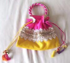 Indian Women Bridal Wedding Ethnic Purse Silk Evening Party Bag Clutch Potli Bag