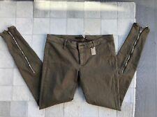 NWT Thomas Wylde Olive Green Jean Zipper Skinny Slim Pants Size: 6 M