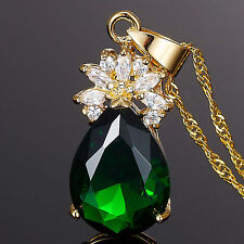 Women Jewellery Pear Cut Yellow Gold Plated Gp Pendant Necklace Free Chain