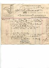 Vintage Illustrated Billhead E FRANK CAREY SANITARY PLUMBER Providence RI 1887