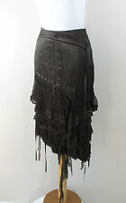 BCBG Max Azria Brown Silk Ruffle Ribbons Peasant Hobo Bohemian Skirt Small  2 4