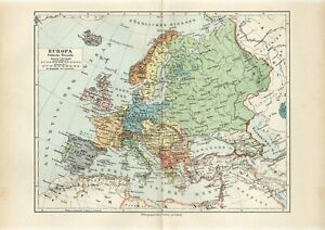 1895 EUROPE POLITICAL MAP Antique Map
