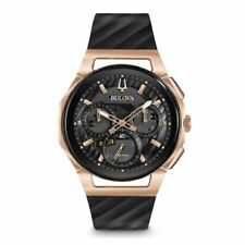 Bulova 98A185 Curv Rose Gold Tone Case Chronograph Men's Watch - Black