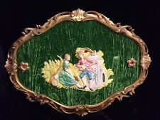 """Vtg 20"""" Colonial Couple Depose Italy 825 Wall Hanging Green Velvet Empire Plaque"""