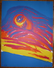 Lewin Karin Lithographie originale signée 1977 art abstrait abstraction cobra