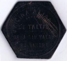 CHILE TARAPACA NIRATE EBONITE TOKEN OFICINA ALIANZA TALTAL PESO PULPERIA ca 1906