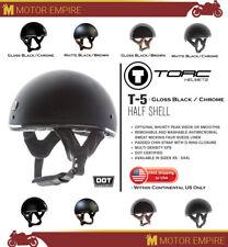 TORC T-5 Half Shell Chin Strap Motorcyle Chopper Helmet Matte Black Chrome DOT