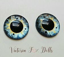 Blythe Doll Realistic Handpainted Blue Gold Metallic Eyechips Eye Chips 14mm