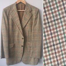 "Vintage Mens Blazer Jacket Brown Green Check Burton WOOL Sport Coat 42"""
