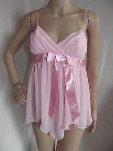 Frederick Small Pink Satin Bow Asymmetrical Wrap V-Neck Babydoll Cami Top gown