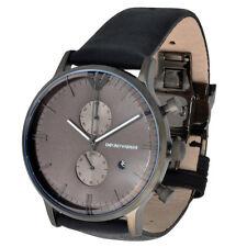Emporio Armani Herren Quarz Chronograph AR0388 5ATM UVP 399€ Edelstahl Leder