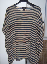 NEW FOCUS 2000 STRIPED TUNIC BLOUSE TOP SIZE M