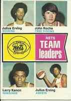 1974 Topps # 226 Nets Leaders Larry Kenon/John Roche/Julius Erving New York Nets