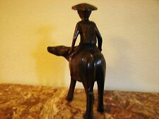 Japanese, Oriental, Chinese, Man Farmer, Agricultural, Hand Carved on Wood