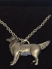 """GOLDEN RETRIEVER DR52 Made From Fine Pewter On 16"""" Silver Plated Chain Necklace"""