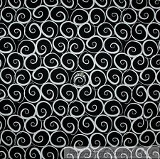 BonEful Fabric FQ Cotton Quilt Black White B&W Small Swirl Scroll Stripe America