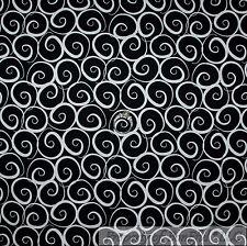 BonEful Fabric FQ Cotton Quilt Black White B&W Small Swirl Scroll Stripe Calico