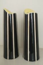 Vintage Hornsea Elegance Studio Craft Cruet Black / White Stripe And Yellow 1955