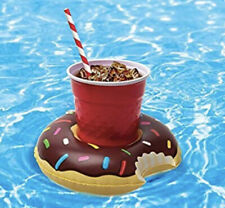 3pk DONUTS Beverage Boat Inflatable Cup Drink Can Holder Pool Float BigMouth