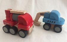 Plan Toys Mini Fire Engine & Mini Excavator