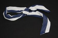 Stylish Women Simple Thin Wire Headband w Navy Blue/White Thick Stripes (S317)