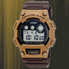 Casio W-735H-5AV Brown Vibration Watch Super-Illuminator Alarm 10 Year Battery