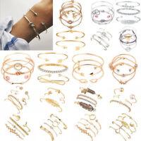 1 Set Women's Boho Bracelet Map Bead Chain Heart Tassel Bangle Cuff Jewellery
