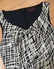 ladies GREAT PLAINS Linen blend Navy Blue white print pencil Dress Size Small 10