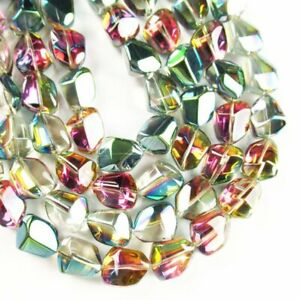 "96.1g Faceted Green Purple Titanium Crystal Freeform Loose Bead 26"" ATZ1765"