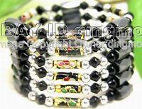 Black Cloisonne Hematite Magnetic &Crystal nec/Bracelet
