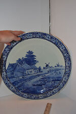 """VINTAGE Blue DELFT BOCH LARGE CHARGER PLATE FARM WINDMILL 15"""""""