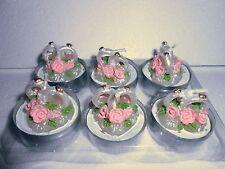 6 x Teelicht Kerze auf Herz mit Ringe Hochzeit Kerzen Deko Hochzeitringe 95025