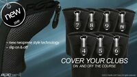 HYBRID HEAD COVERS COMPLETE 4 5 6 7 8 9 PW SET THICK GOLF CLUB BLACK HEADCOVER