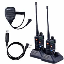 2X BaoFeng UV-5R Comunicador Transceiver Two Way Radio Walkie Talkie Cable Mic