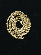 14K SOLID GOLD NECKLACE 3 MM 4.64 GRAM 18 INCH ROPE CHAIN